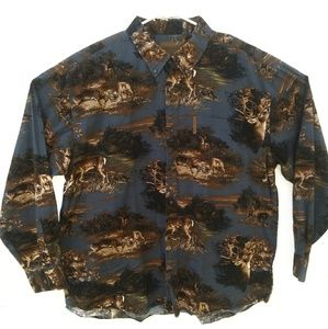 Mens Magellan Sportswear Hunting Deer Button Front